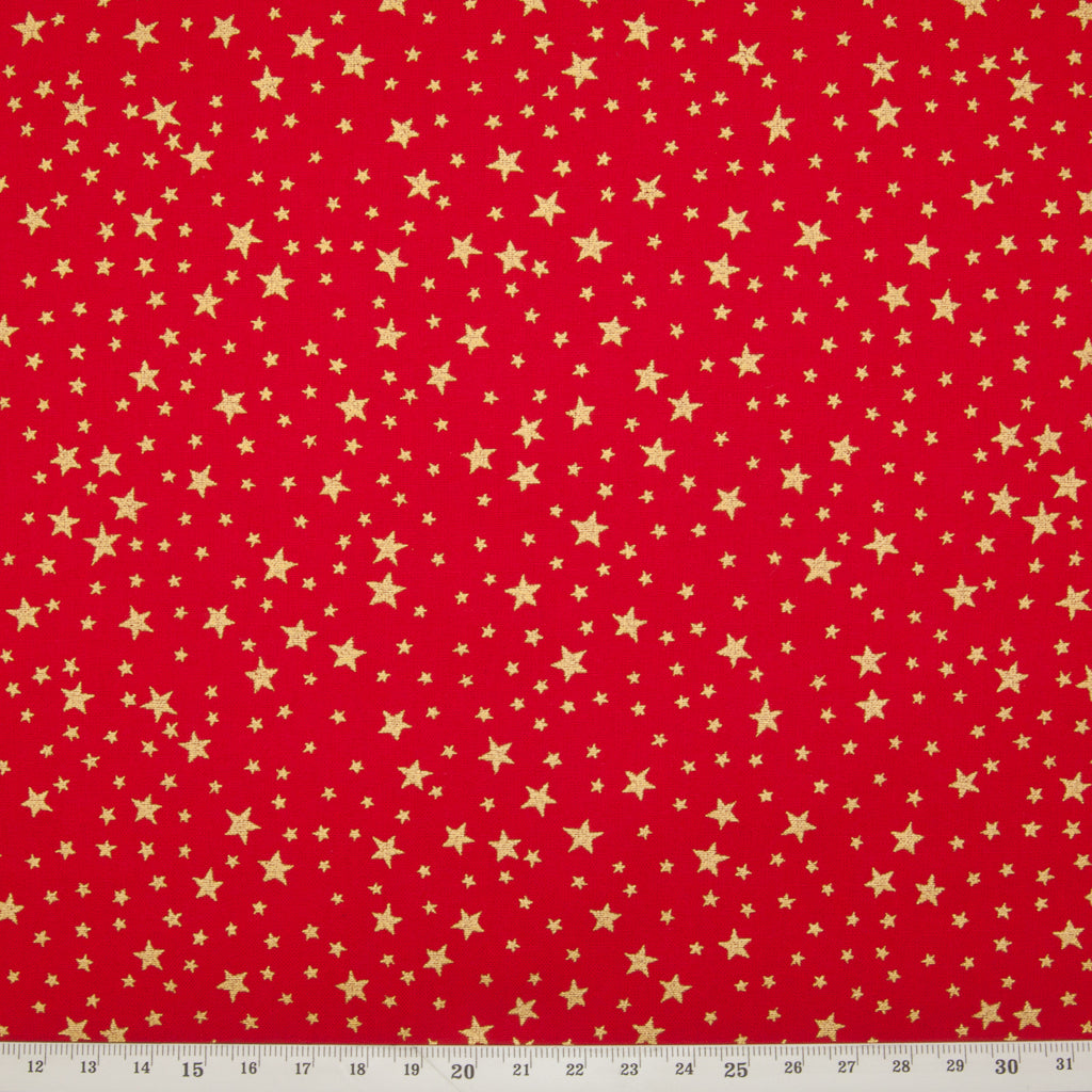 Christmas Cotton Fat Quarter Bundle - Red, Green & Ivory Gold Stars