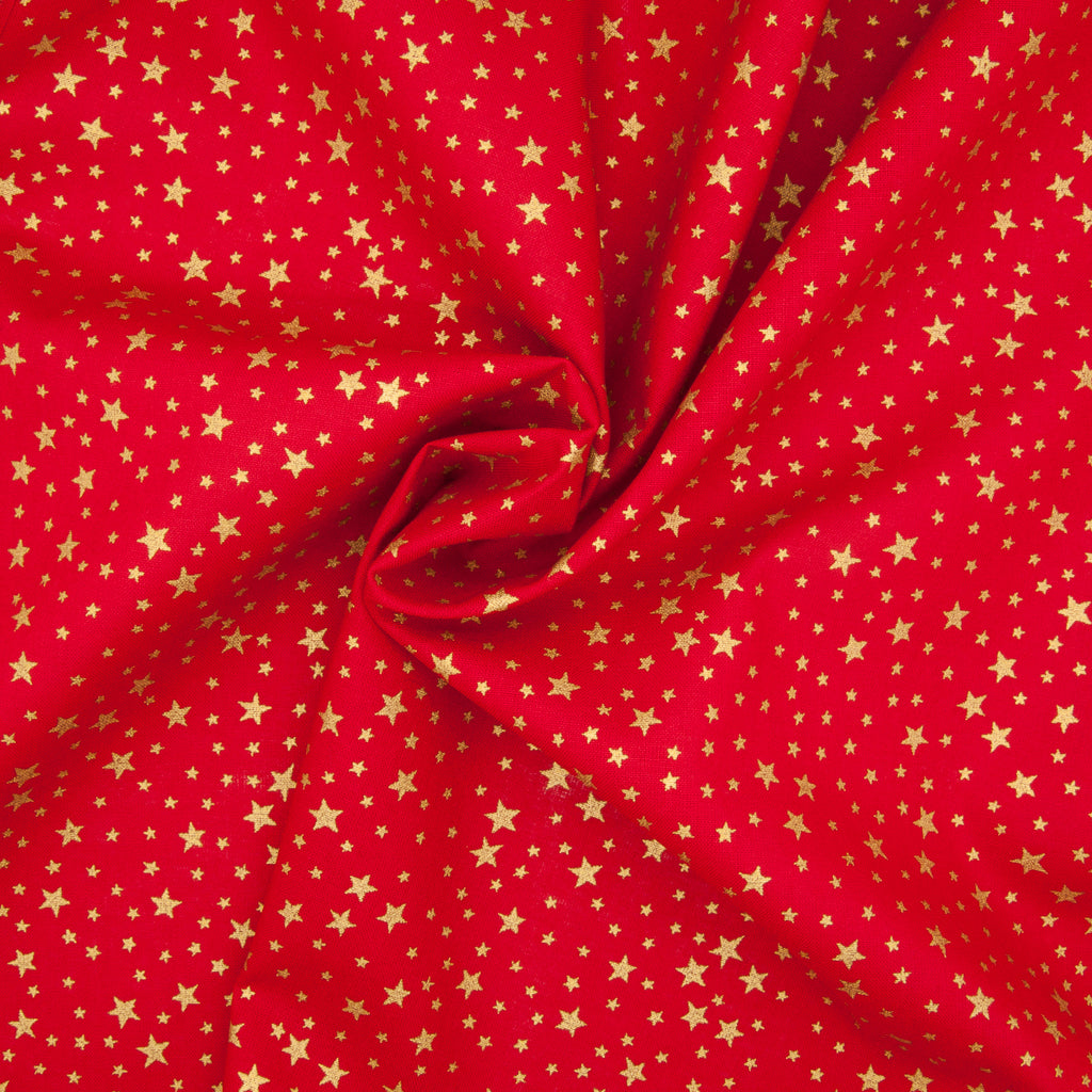 Gold Metallic Stars on Red - 100% Cotton Fabric