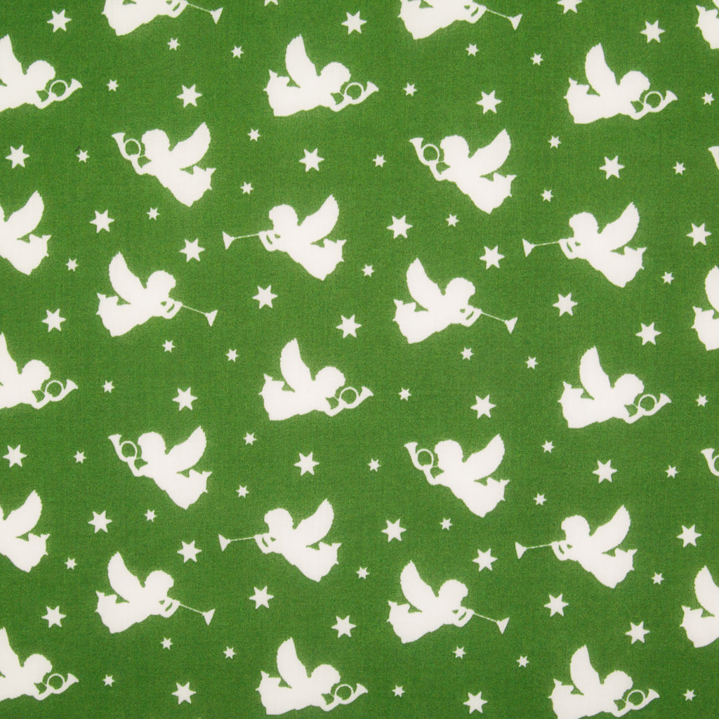 Christmas Angels on Green - Christmas Polycotton