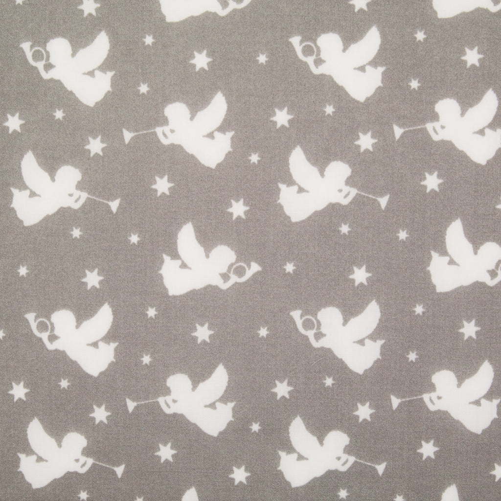Christmas Angels on Grey - Christmas Polycotton