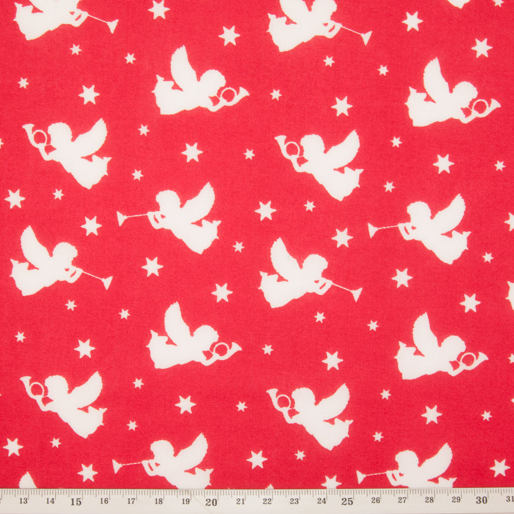 Christmas Angels on Red - Christmas Polycotton