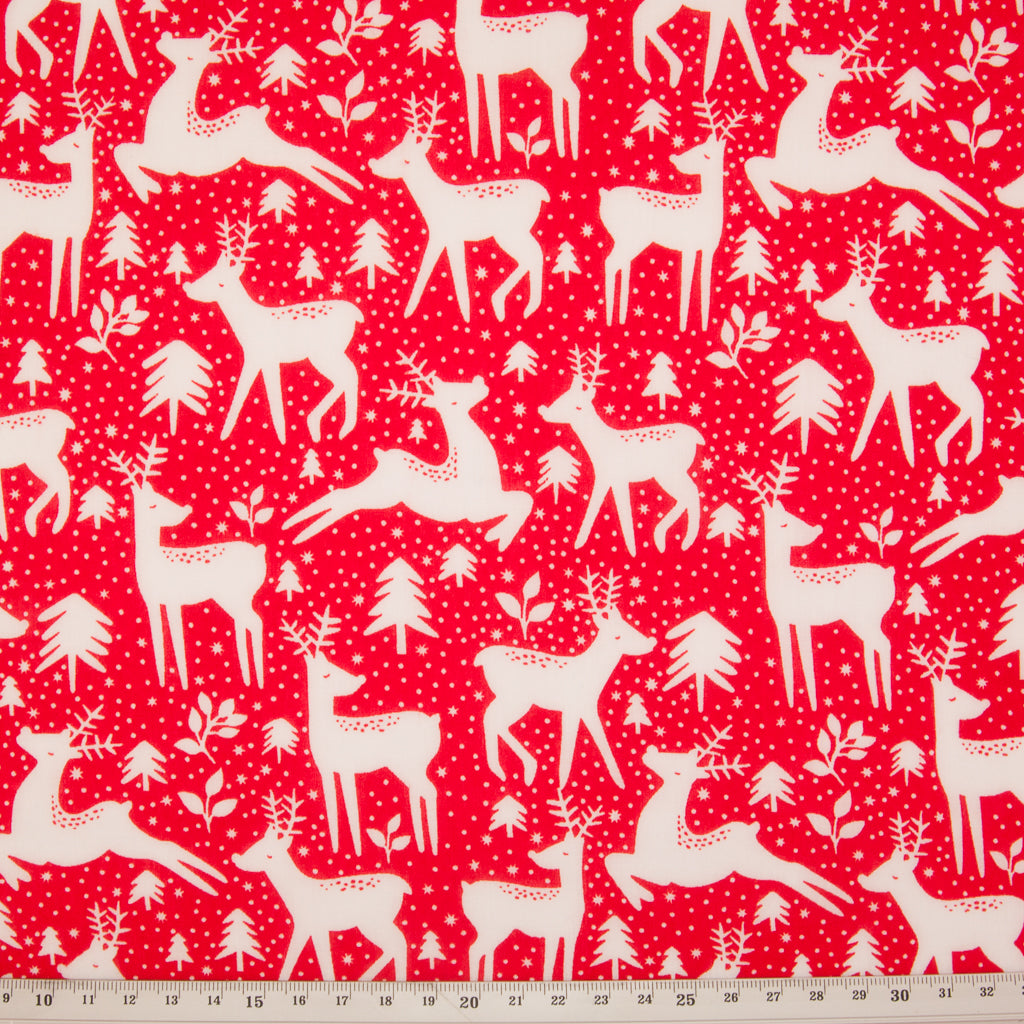 Christmas Reindeer & Tree on Red - Christmas Polycotton
