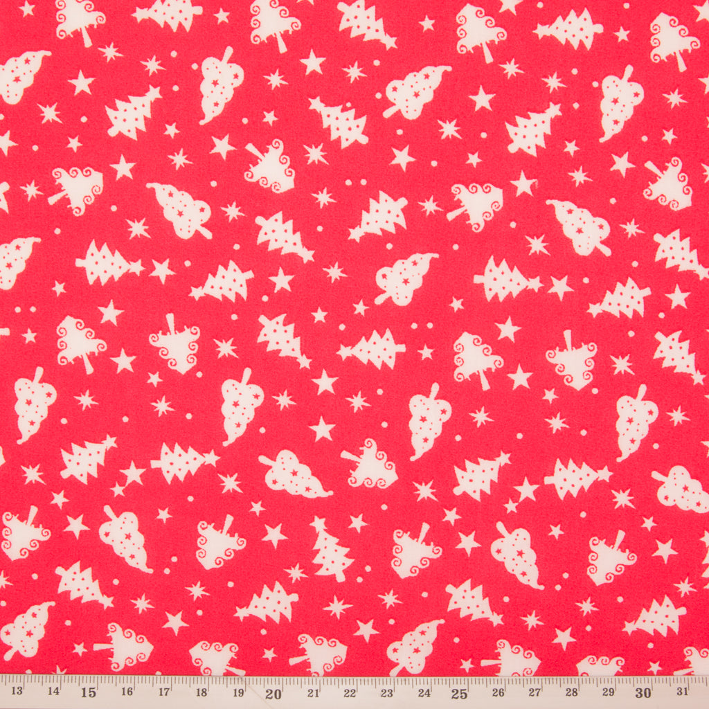 Christmas Trees on Red - Christmas Polycotton