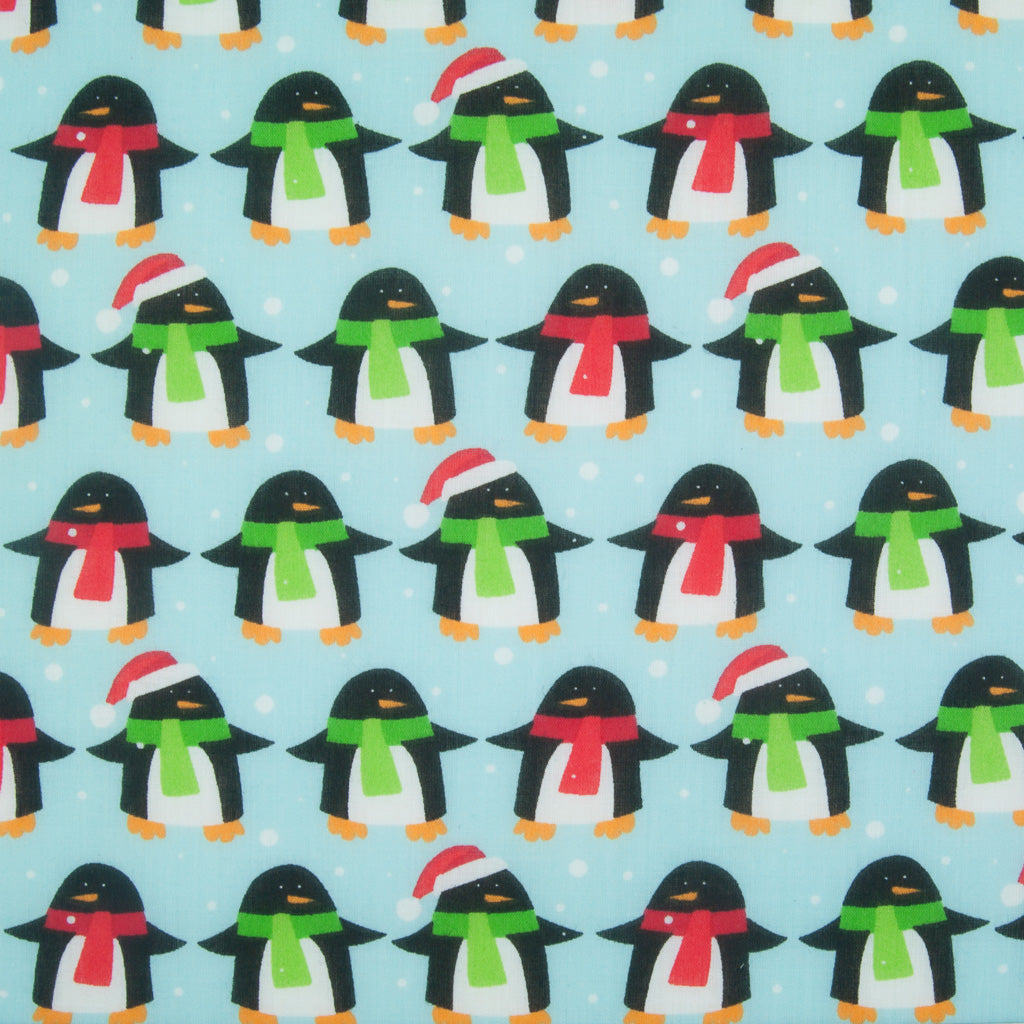 Festive Penguins on Blue - Christmas Polycotton