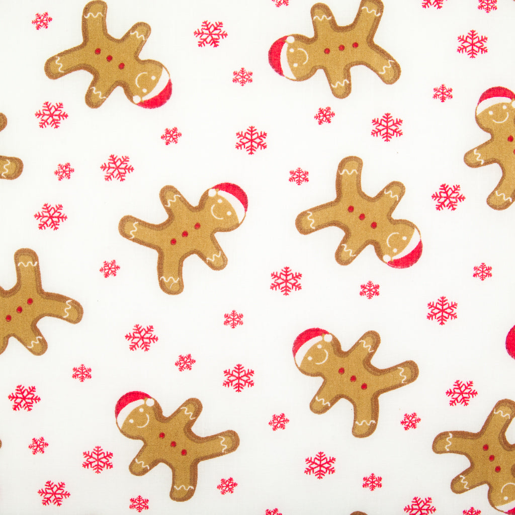 Gingerbread Man & Snowflakes - Christmas Polycotton
