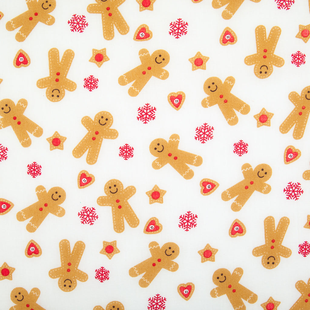 Gingerbread Man & Hearts - Christmas Polycotton