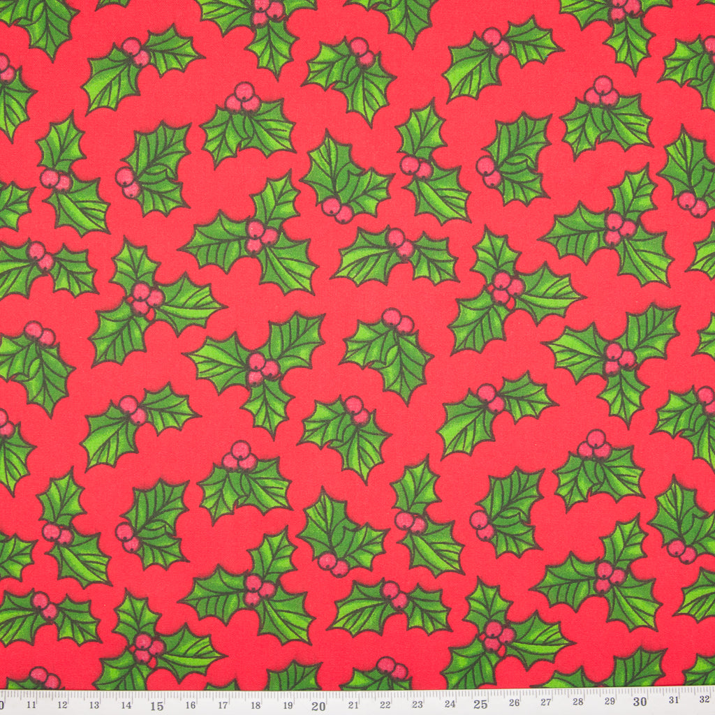 Festive Holly on Red - Christmas Polycotton