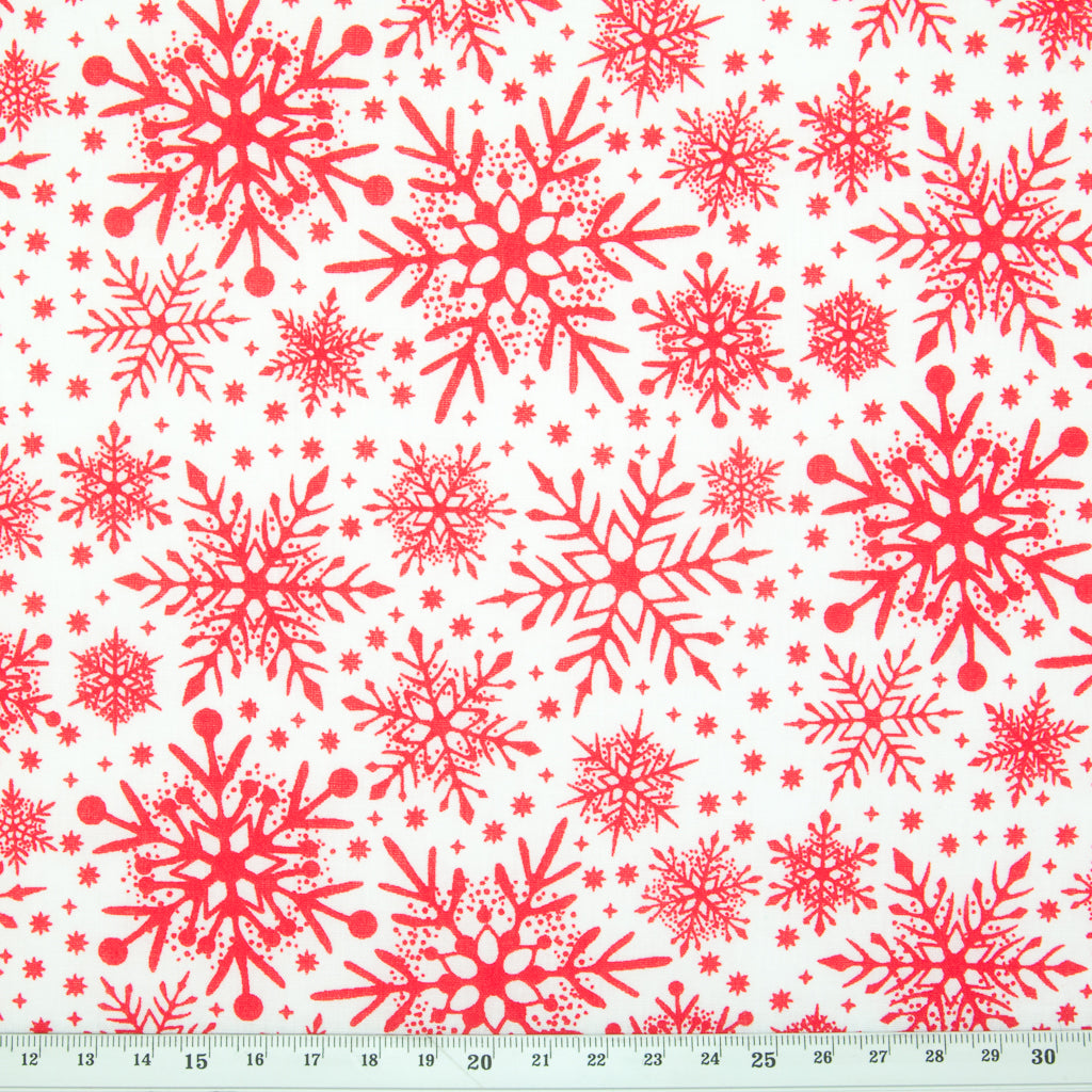 Intricate Red Snowflakes on White - Christmas Polycotton