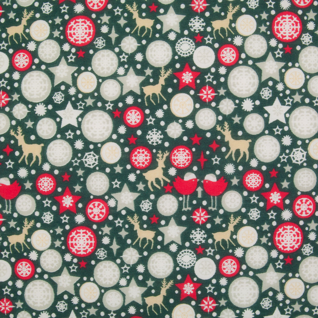 Star, Reindeer & Robin on Green - Christmas Polycotton