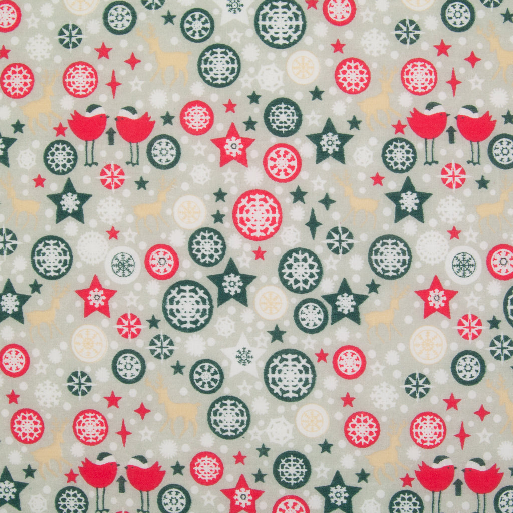 Star, Reindeer & Robin on Silver - Christmas Polycotton