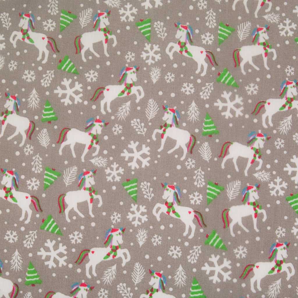 Christmas Unicorn on Silver - Christmas Polycotton
