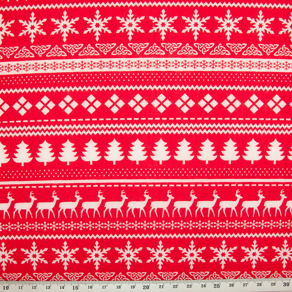 Red Scandinavian - Christmas Polycotton