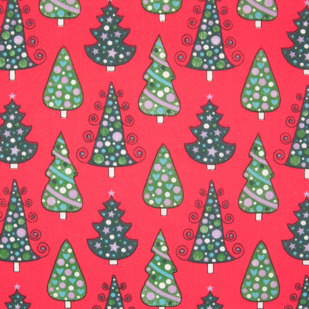 Green Christmas Trees on Red - Christmas Polycotton