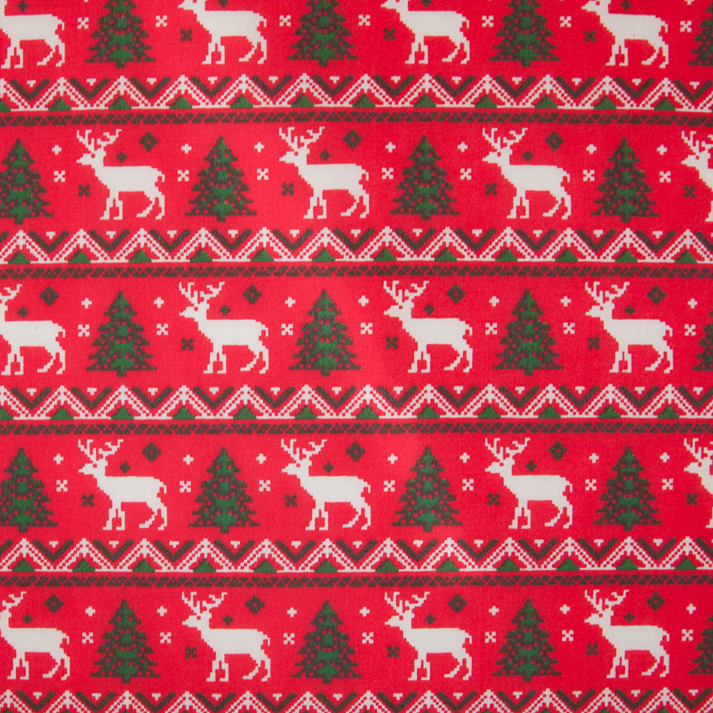 Reindeer & Tree Scandi on Red - Christmas Polycotton