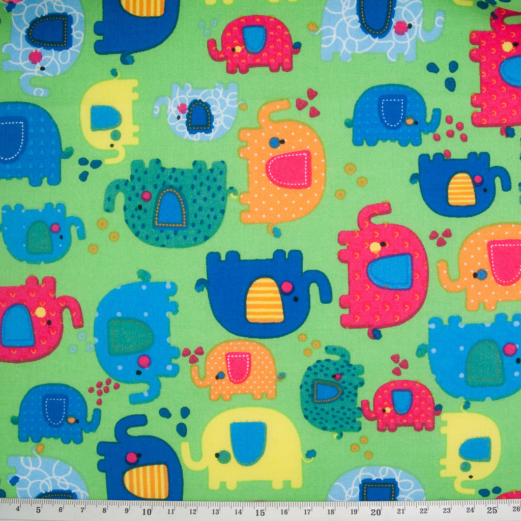 Spotty Elephant on Lime Green -  100% Cotton Fabric