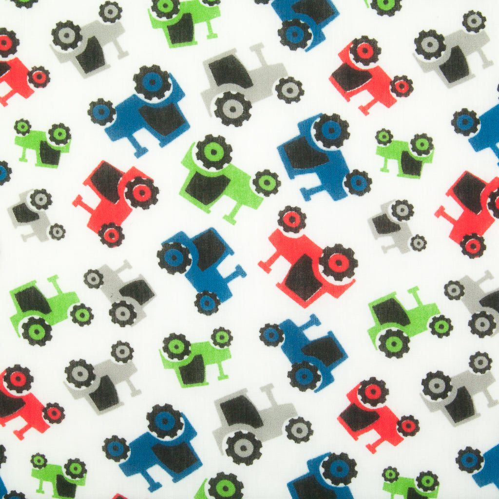 Colourful Tractors - Polycotton Fabric