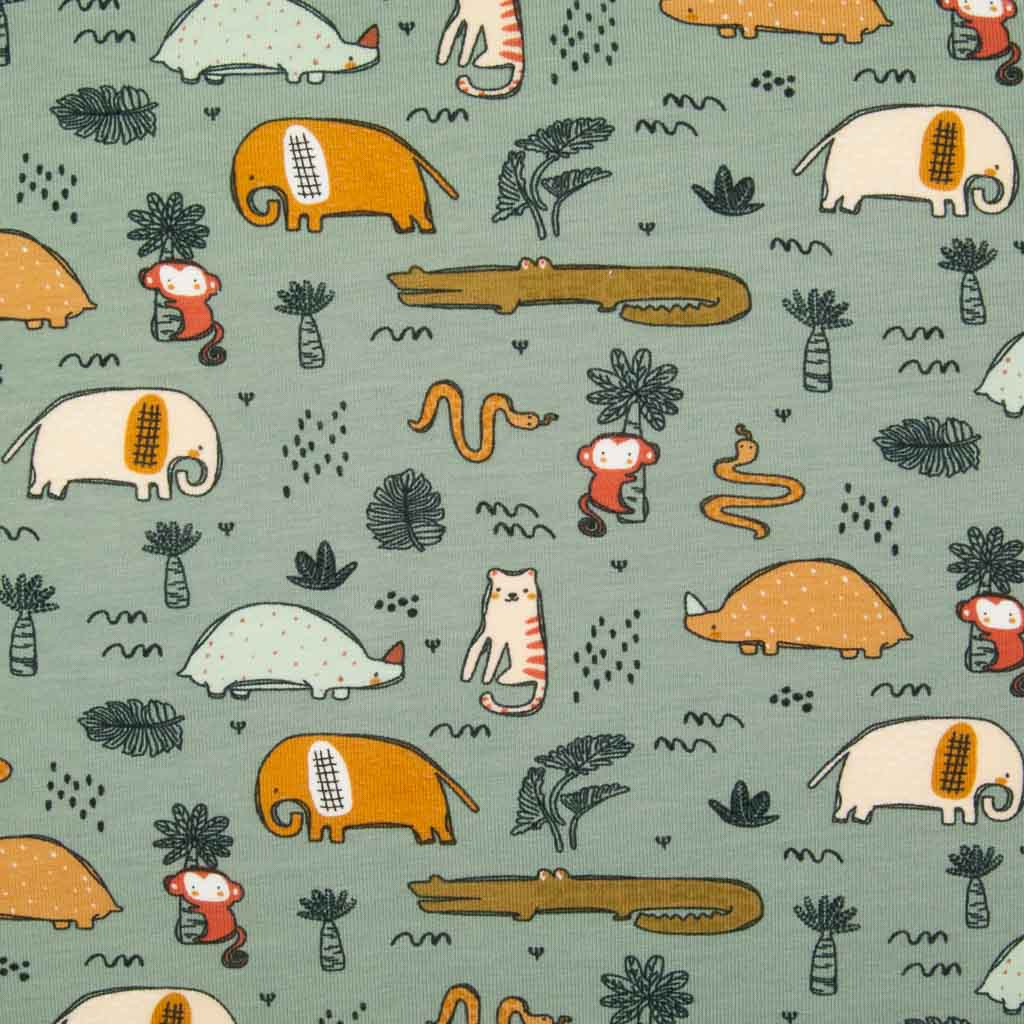 Animal Safari - Organic Cotton Jersey Fabric - Duck Egg