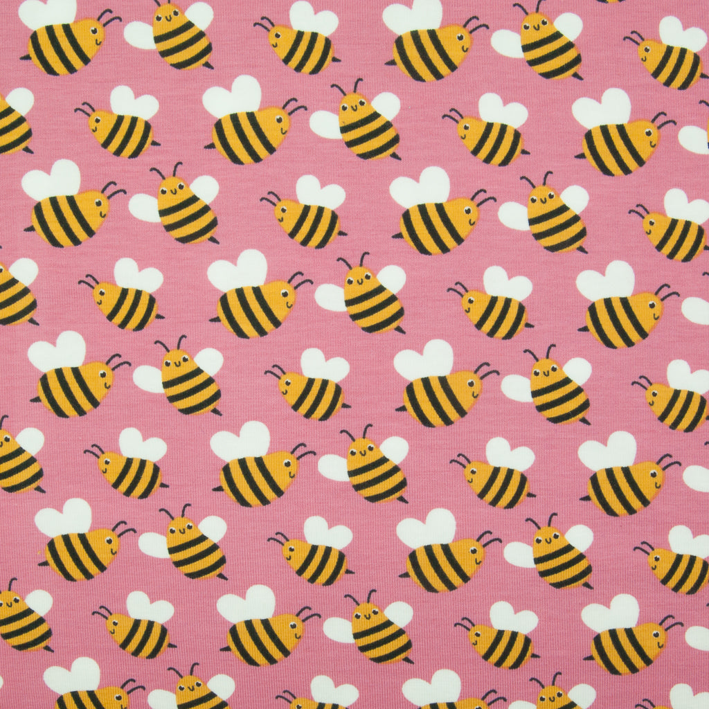 Happy Bees Cotton Jersey Knit Fabric - Pink