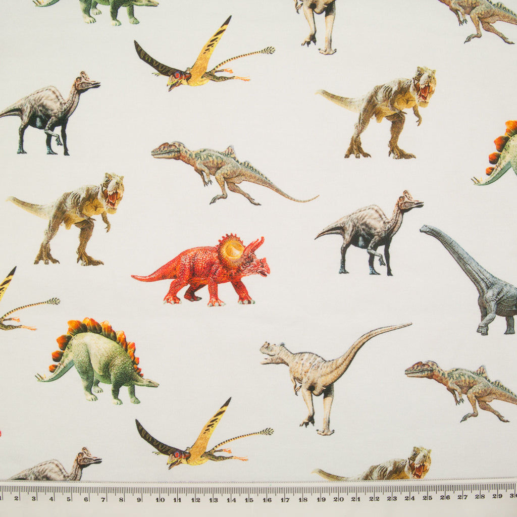 Dinosaur Cotton Jersey Knit Fabric - Silver
