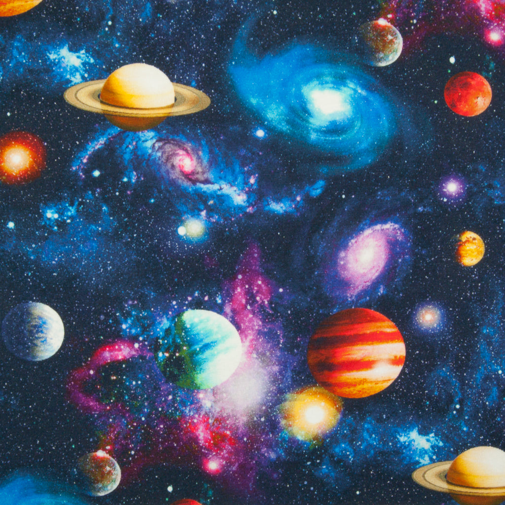 Planets & Galaxy Cotton Jersey Knit Fabric