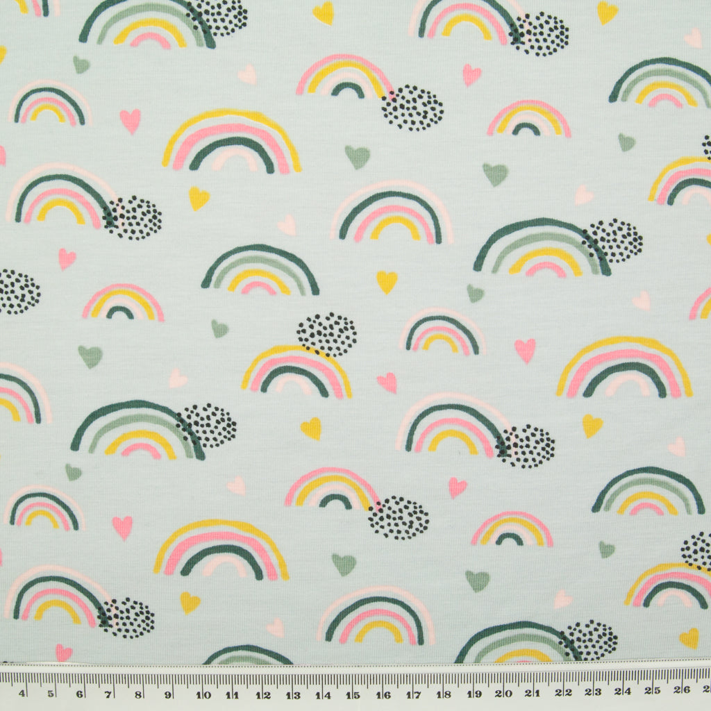 Rainbow & Heart - Organic Cotton Jersey Knit Fabric - Silver