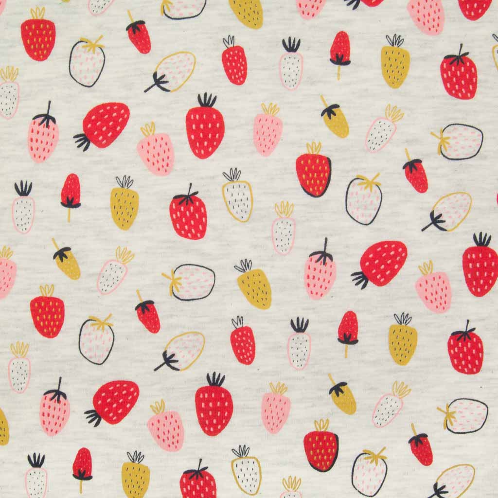 An ecru jersey fabric printed with red, pink and ochre strawberries
