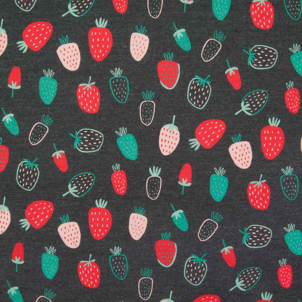 An indigo cotton jersey fabric printed with red, pink and green strawberries