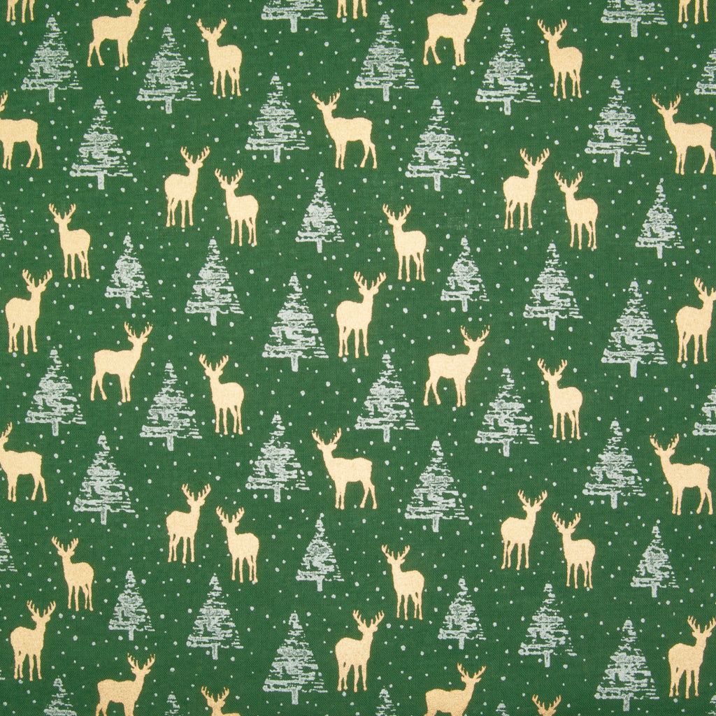 Metallic Gold Reindeer & Silver Trees on Green - 100% Cotton Fabric