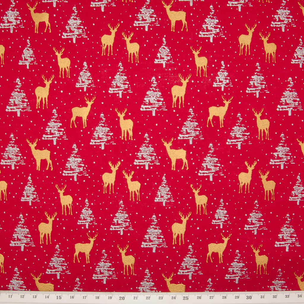 Metallic Gold Reindeer & Silver Trees on Red - 100% Cotton Fabric