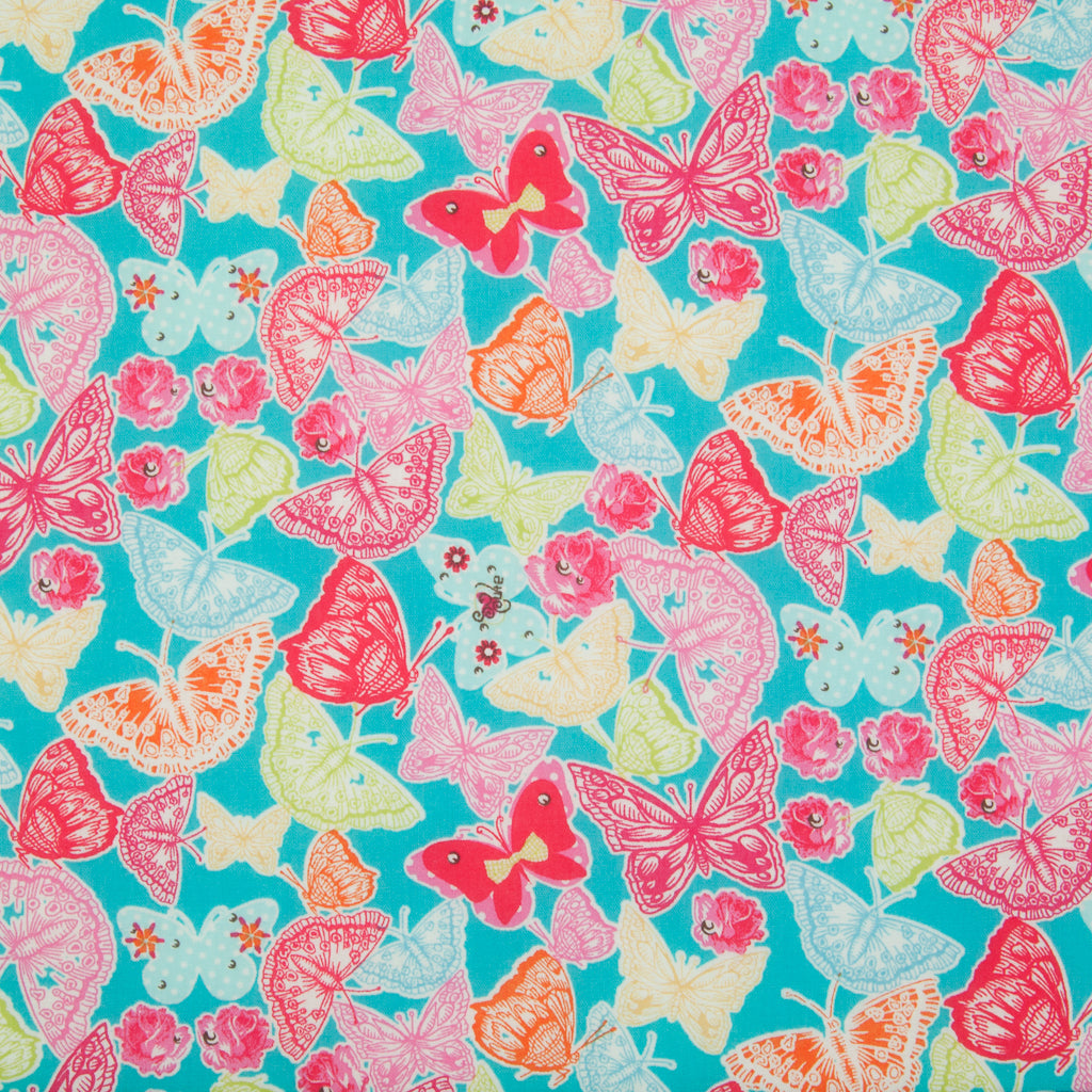 Butterfly & Rose on Turquoise -  100% Cotton Fabric