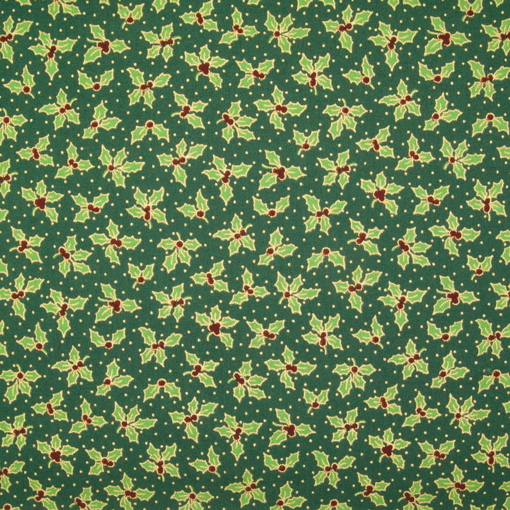 Holly Leaf & Berry - Gold & Green on Green - 100% Cotton Fabric