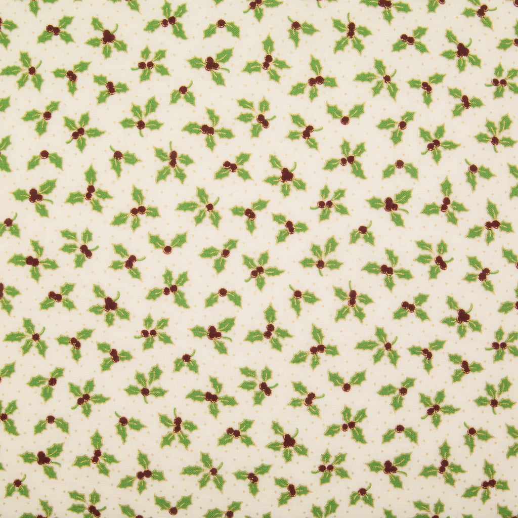 Holly Leaf & Berry - Gold & Green on Ivory - 100% Cotton Fabric