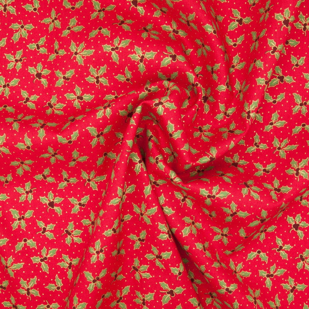 Holly Leaf & Berry - Gold & Green on Red - 100% Cotton Fabric