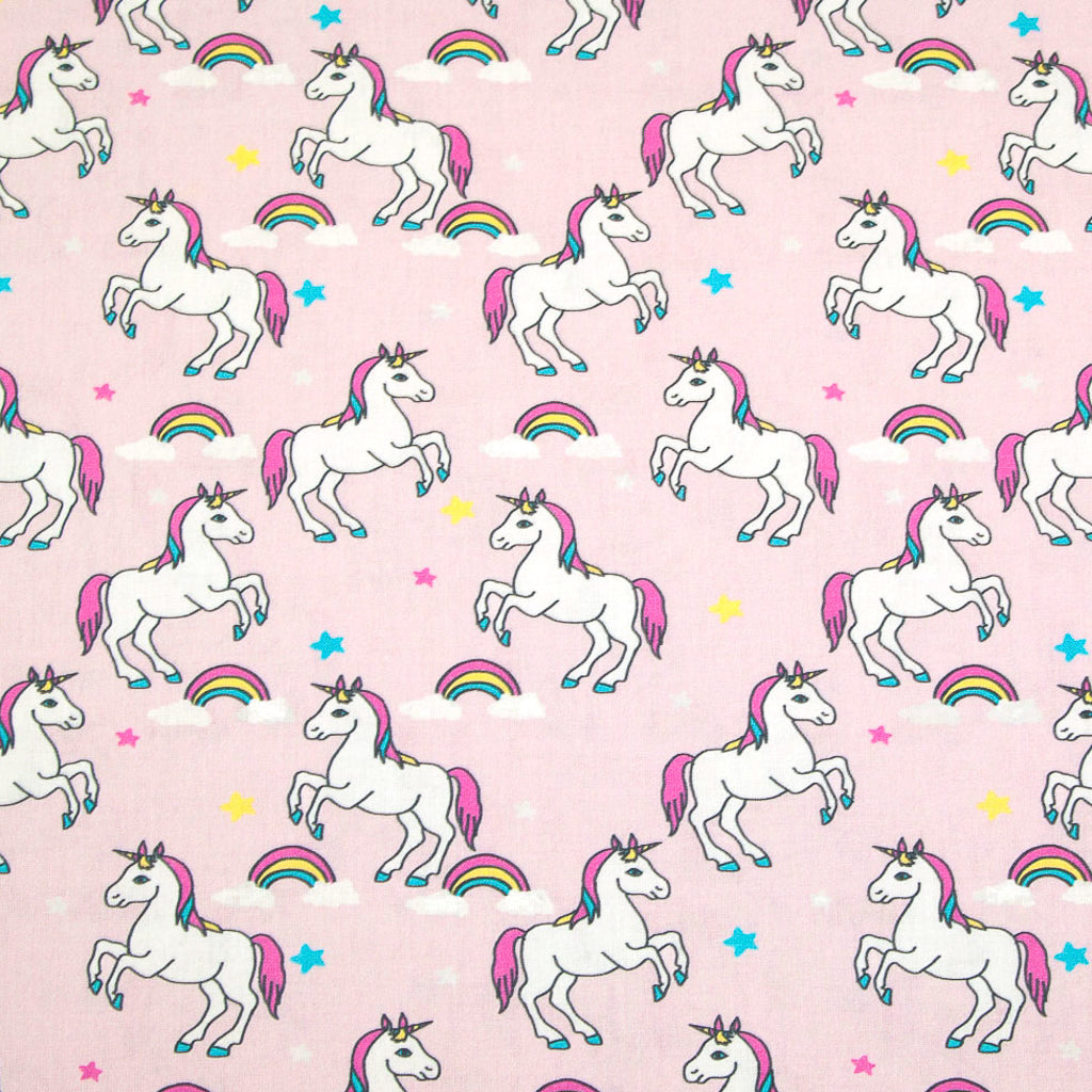 Unicorn, Rainbow & Stars on Pink -  100% Cotton Fabric