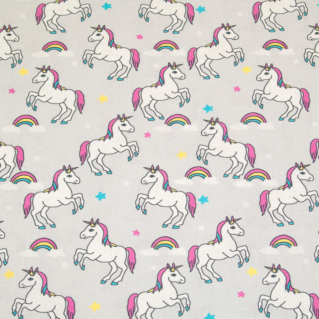 Unicorn, Rainbow & Stars on Silver -  100% Cotton Fabric