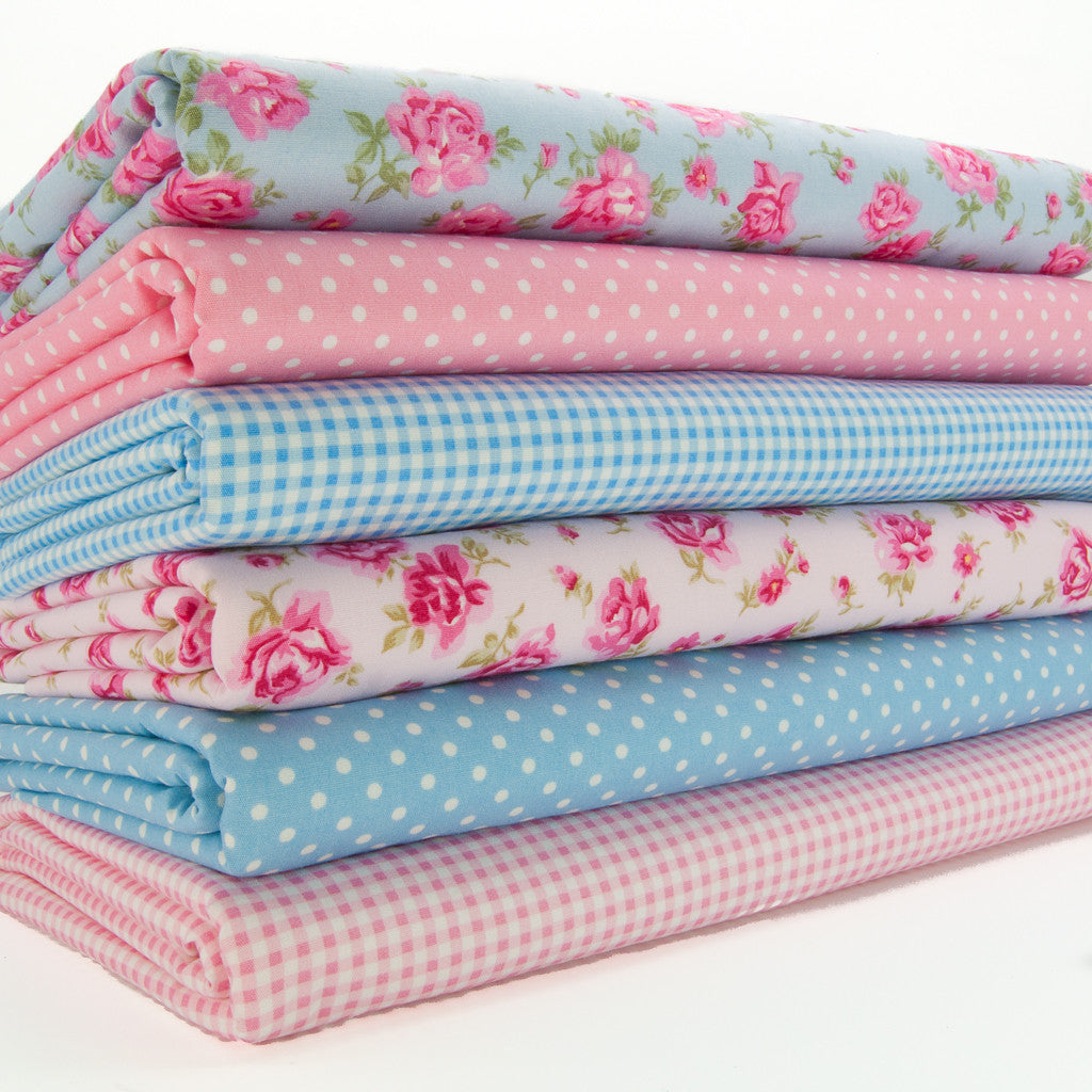Rose & Hubble - Florals, Spots & Stripes - 6 x Fat Quarters - 100% Cotton - Pink & Blue Mix