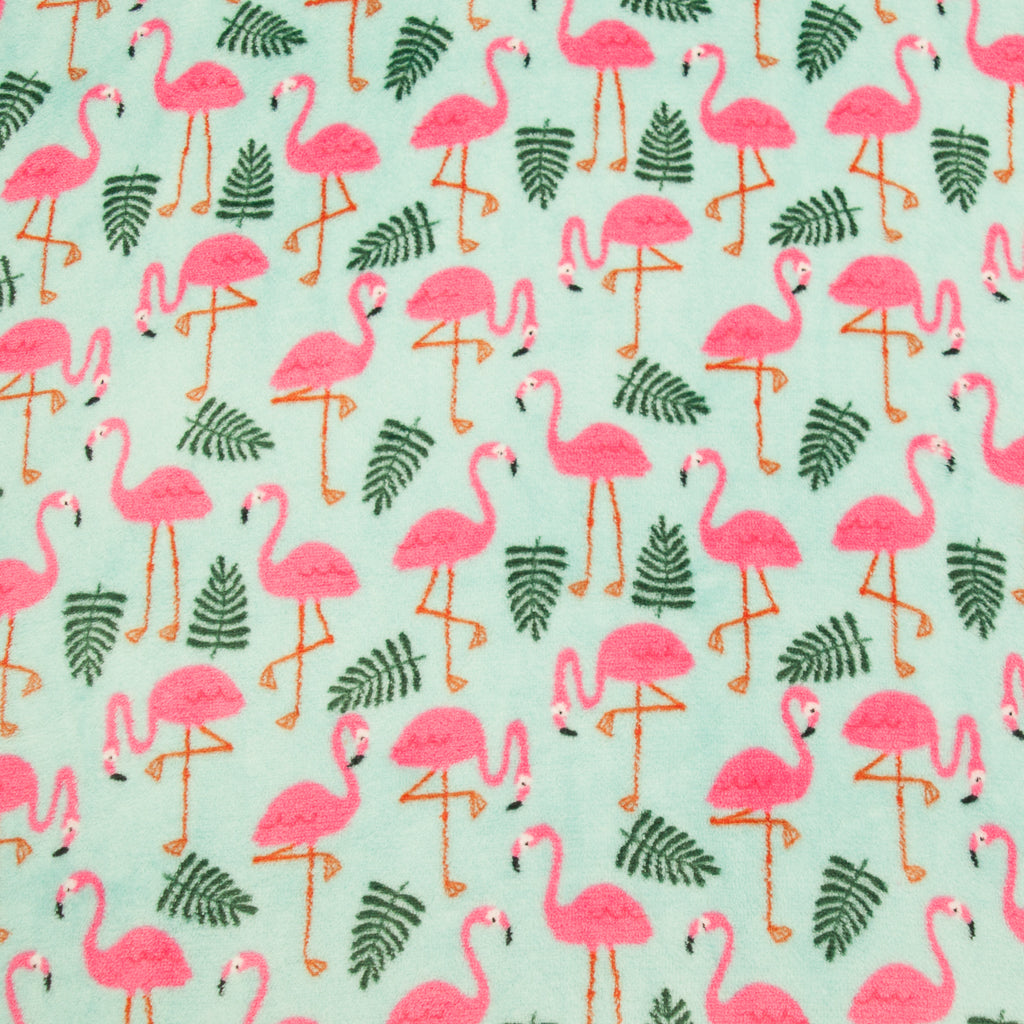 Flamingo on Aqua - Super Soft Cuddle Fleece