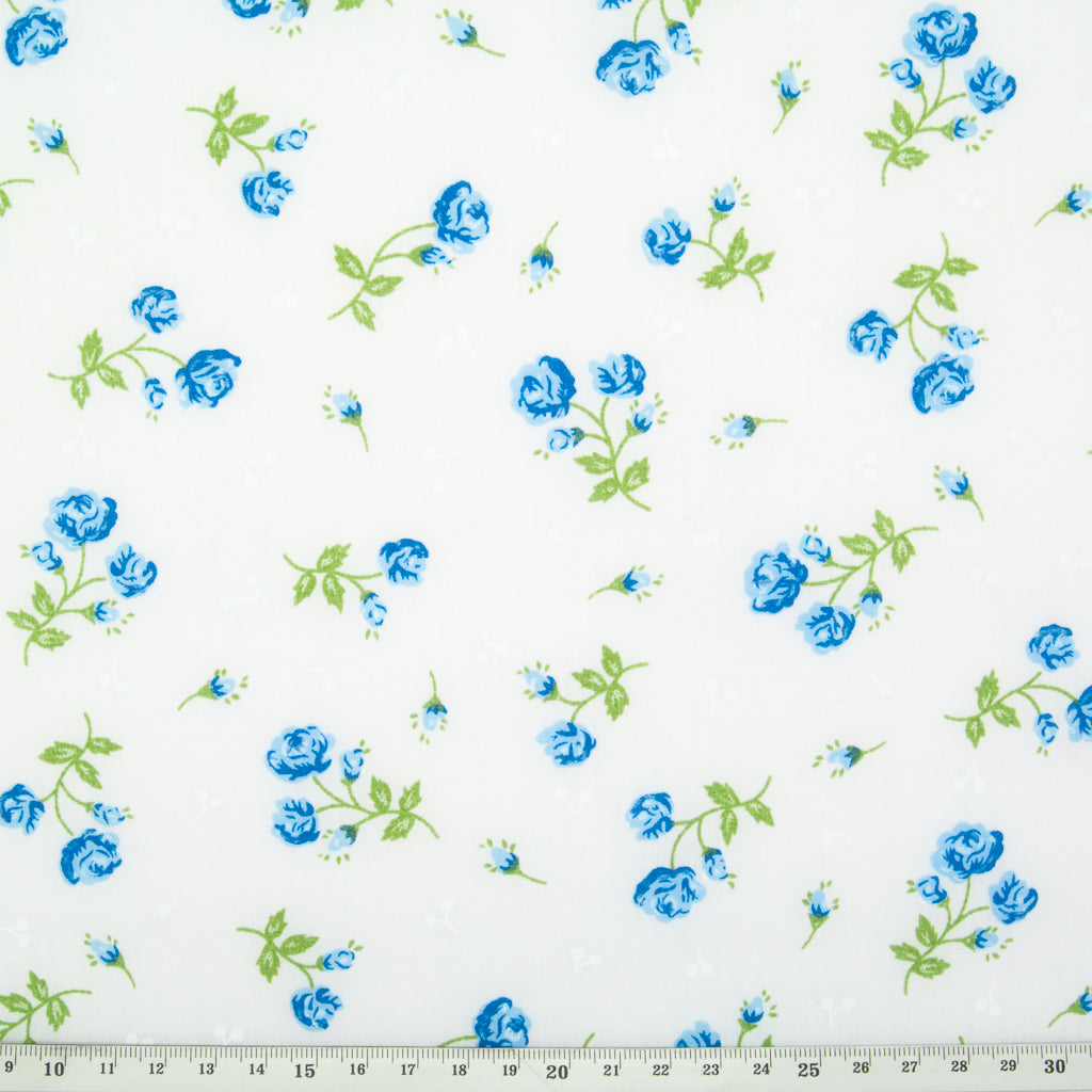 Delicate Rose - Blue on White Polycotton