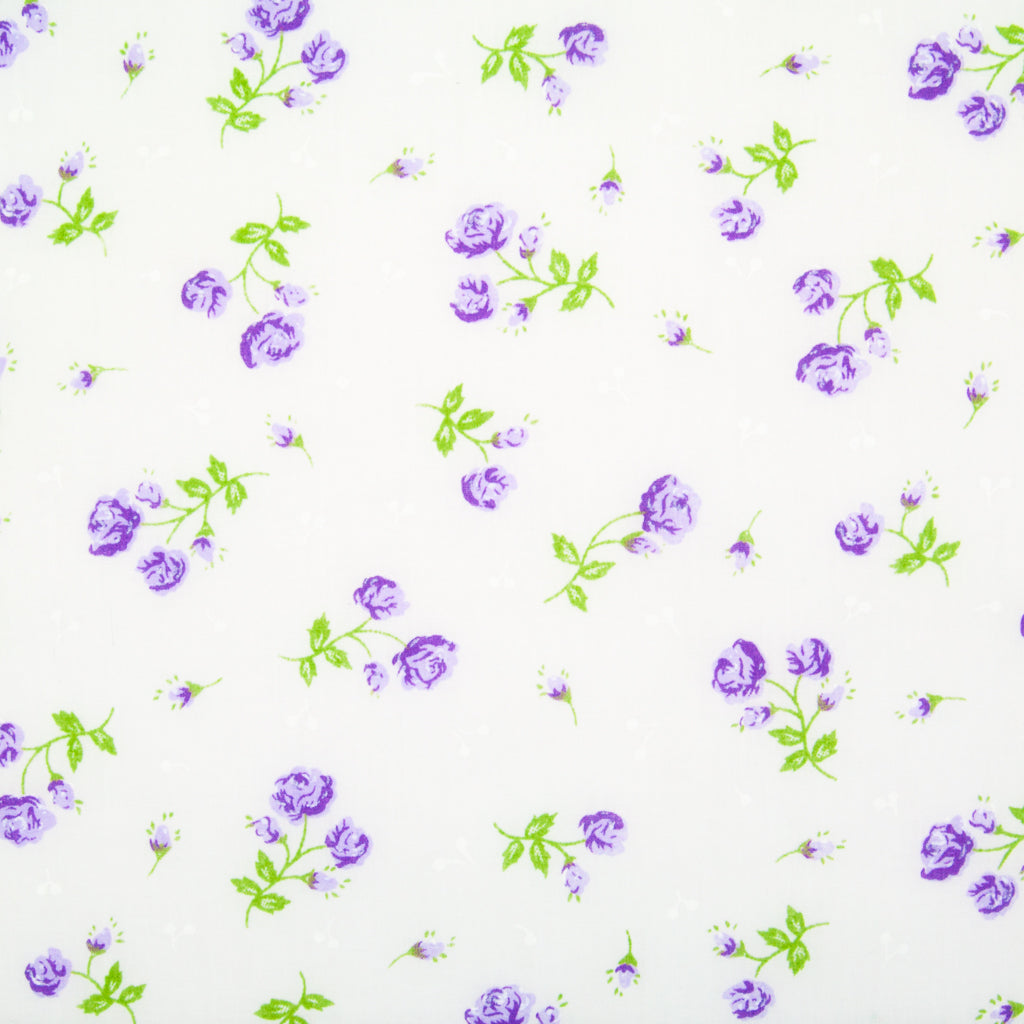 Delicate Rose - Lilac on White Polycotton