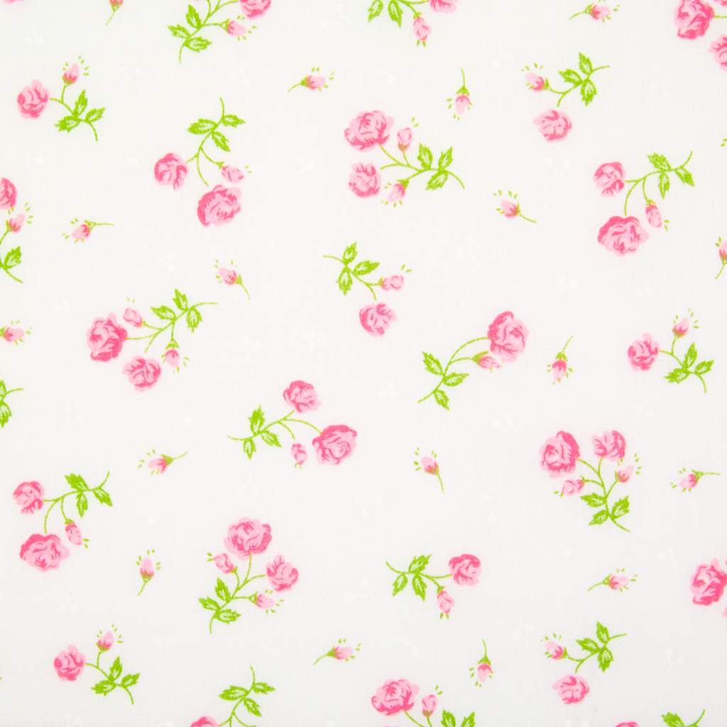 Delicate Rose - Pink on White Polycotton