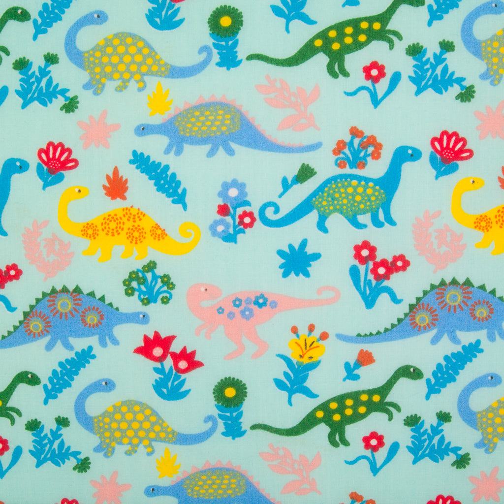 Dinosaur on Aqua - Polycotton Fabric