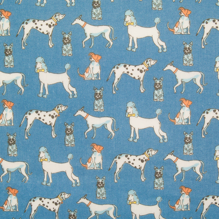 Multi Dog on Blue - Polycotton Fabric