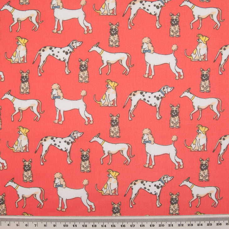 Multi Dog on Red - Polycotton Fabric