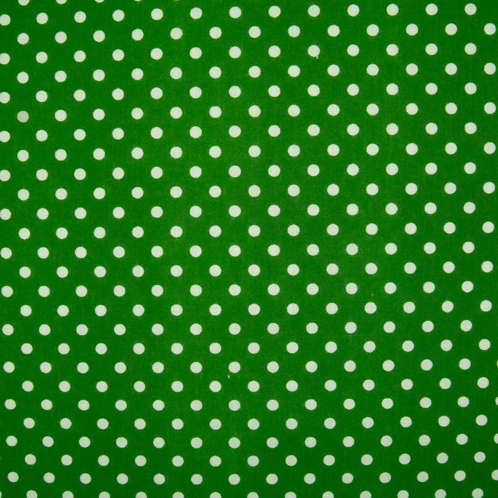 Pea Spot - 4mm White Spots on Emerald Green