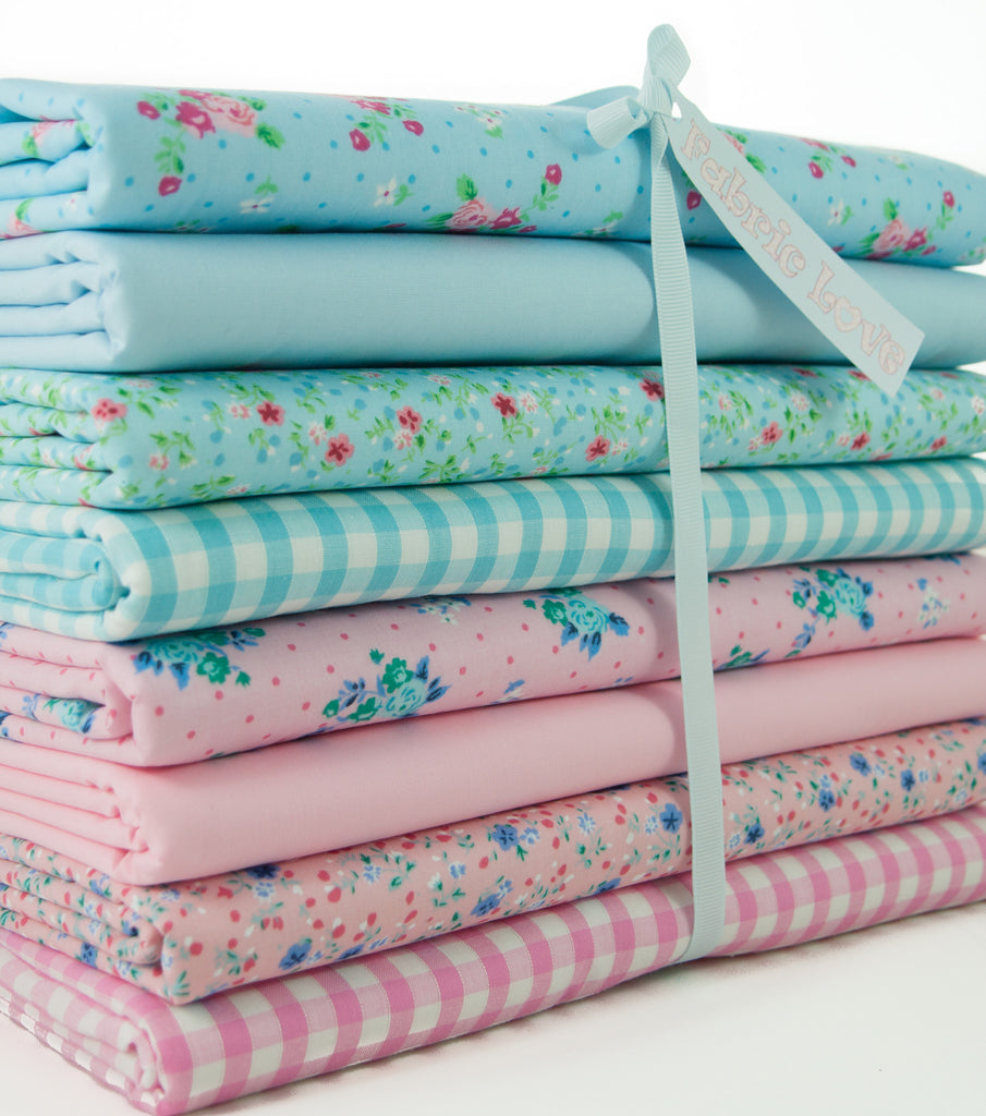 Fat Quarter Bundle of 8 - Pink and Blue Florals