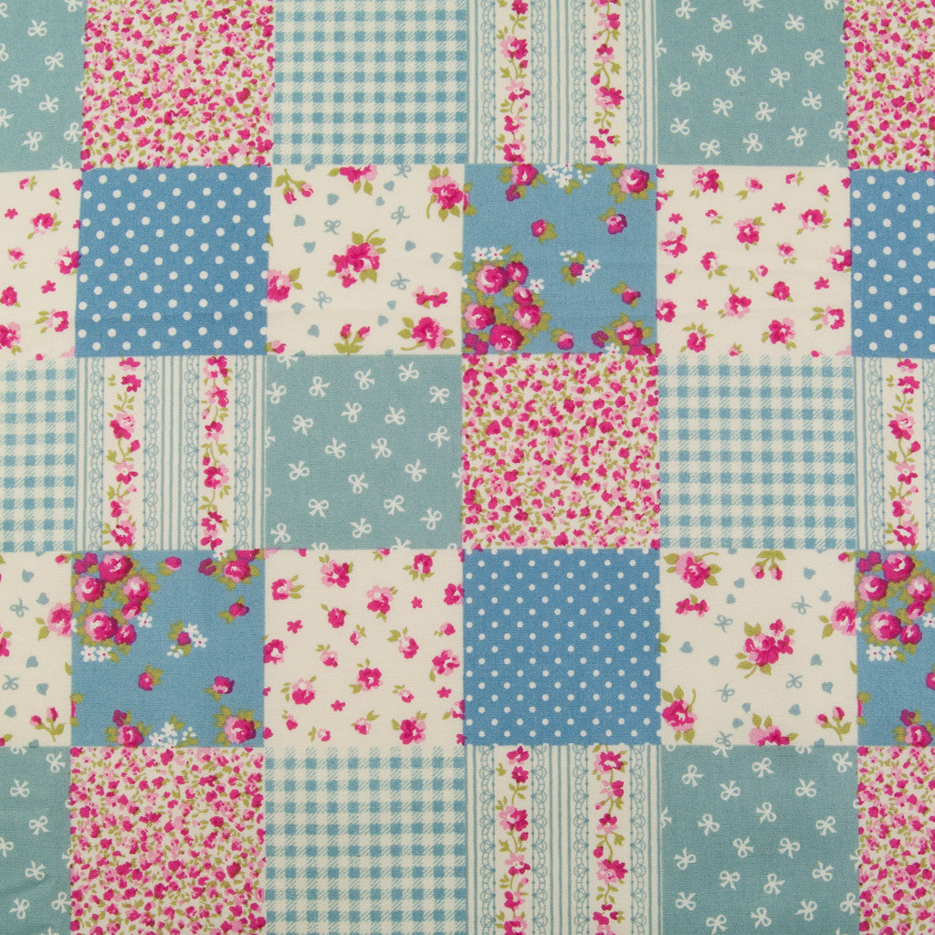 Rose & Hubble Blue & Red Patchwork -  100% Cotton Poplin