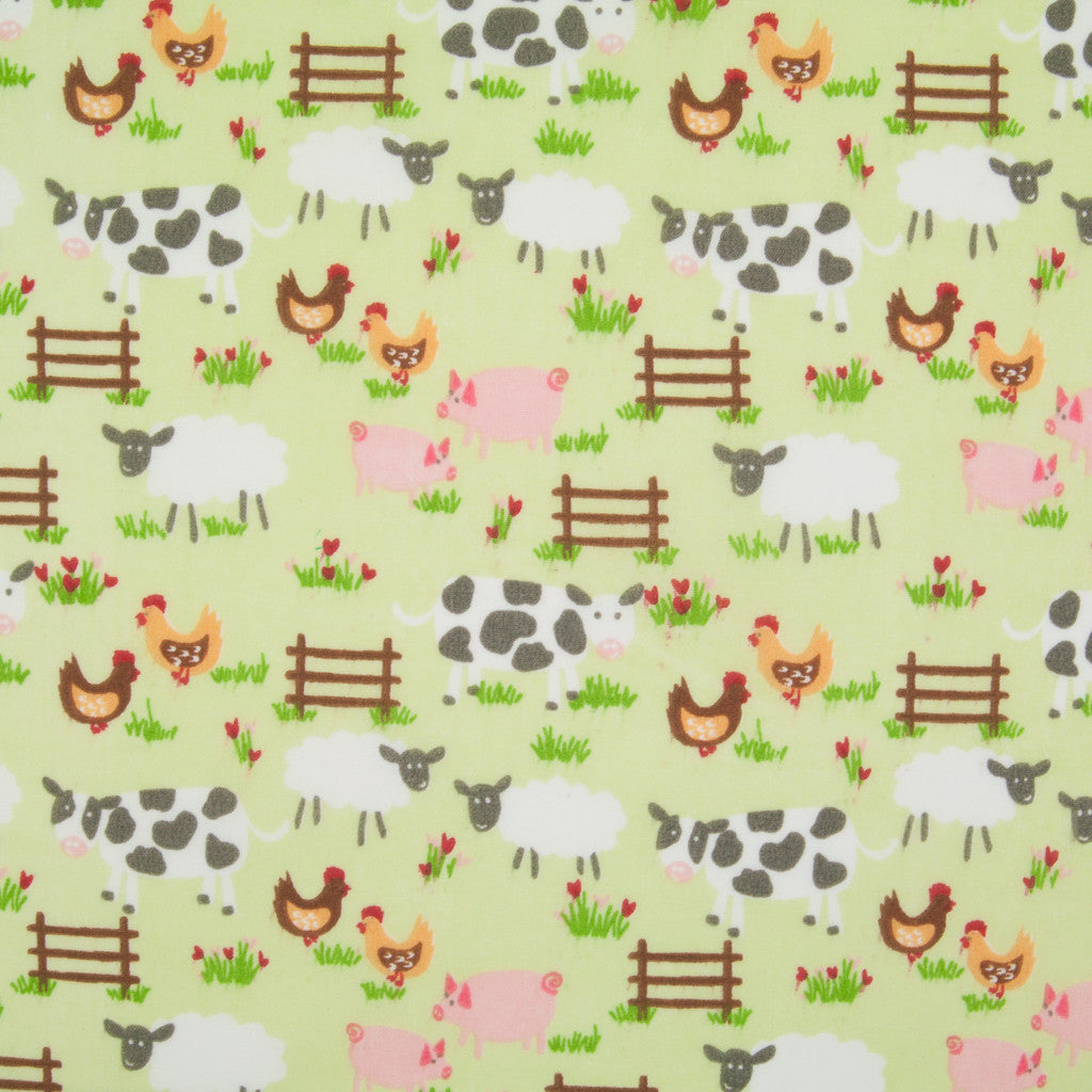 Down on the Farm - Green - Polycotton
