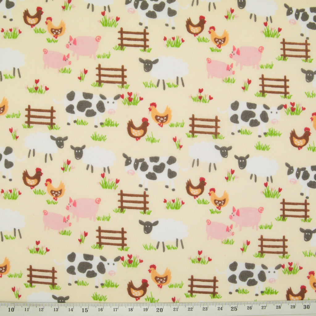 Down on the Farm - Lemon - Polycotton