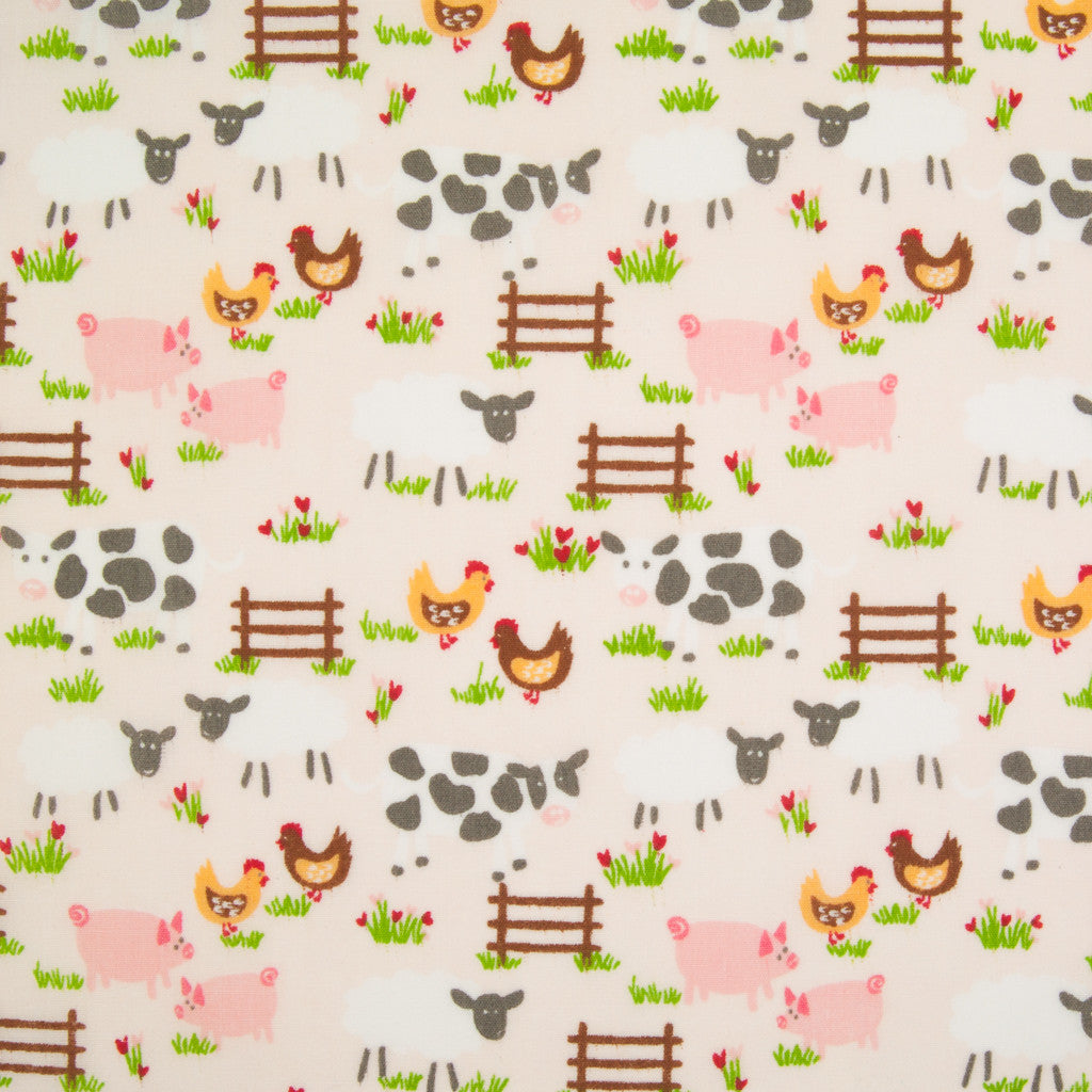 Down on the Farm - Pink - Polycotton