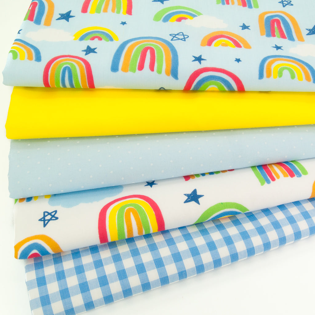 Fat Quarter Bundle - Rainbow & Gingham - Polycotton Bundle